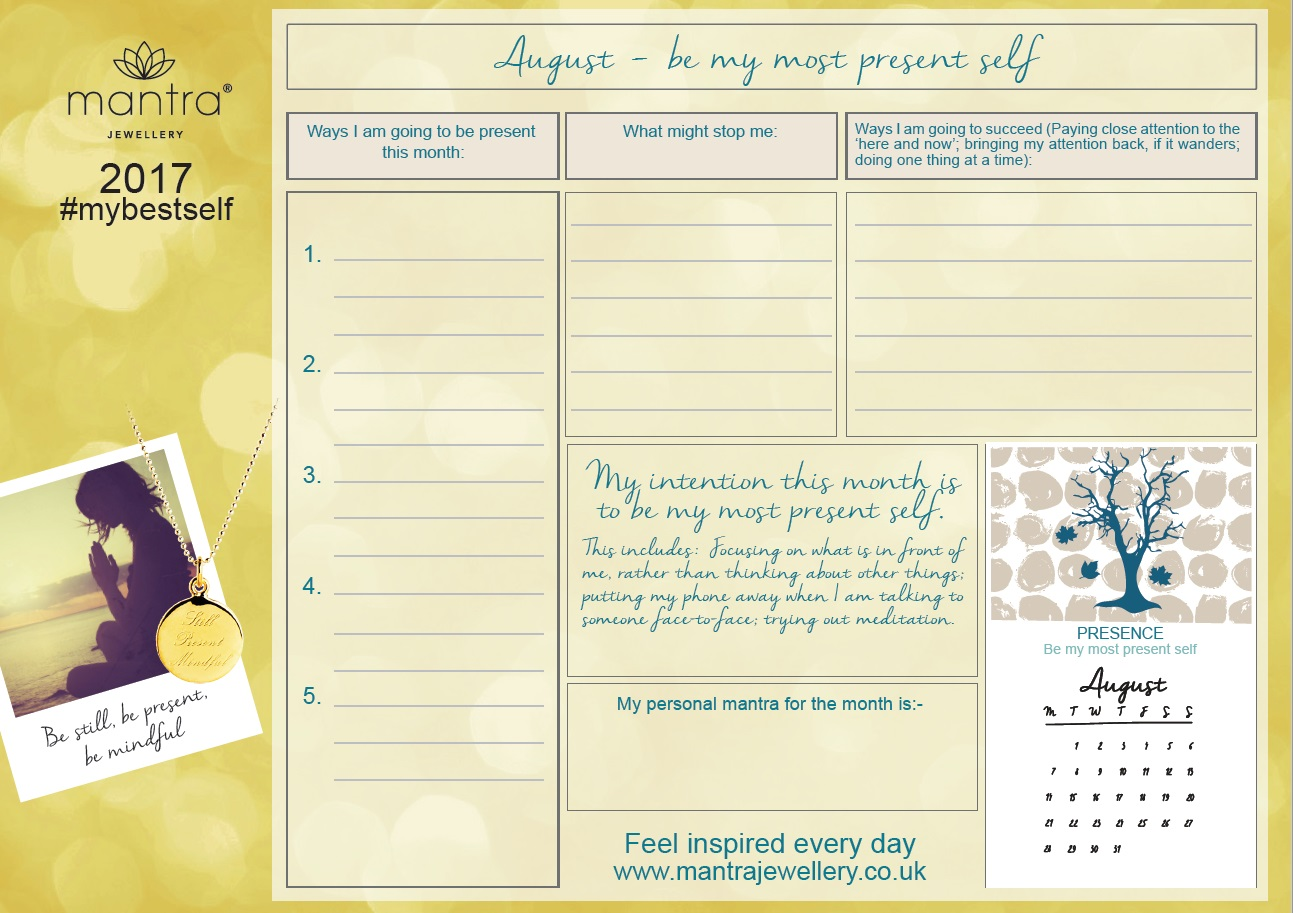 August Inspirational calendar FREE download