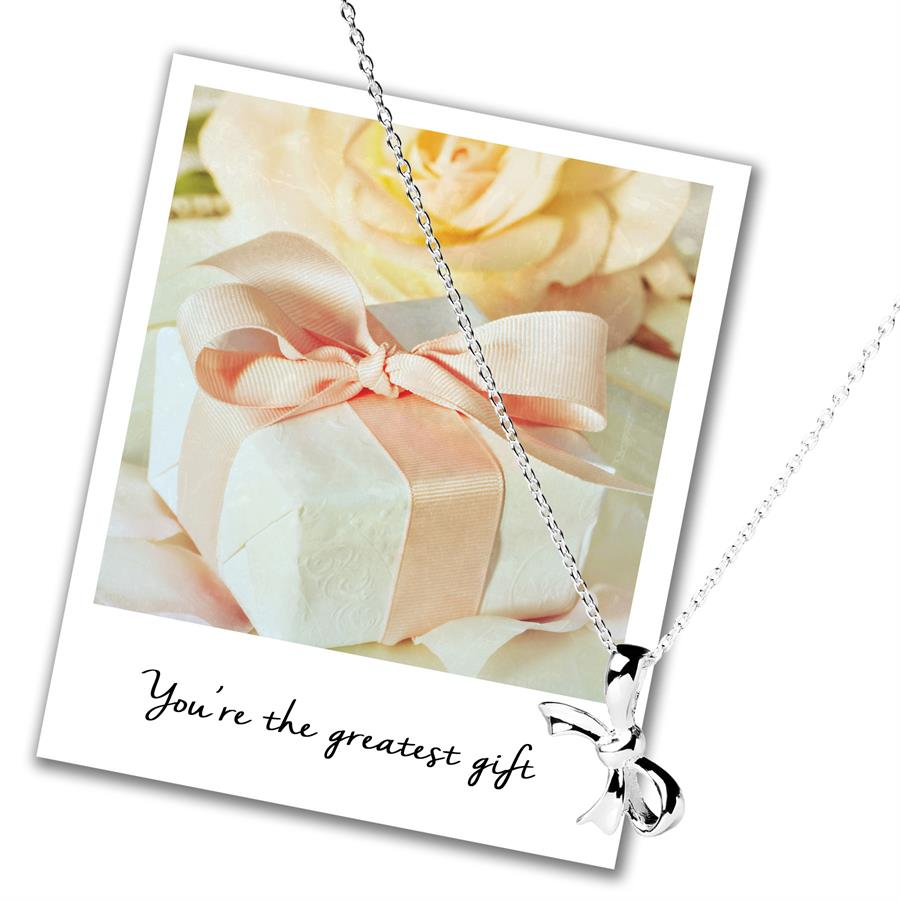 Sterling Silver Bow Necklace - Teacher's Gift