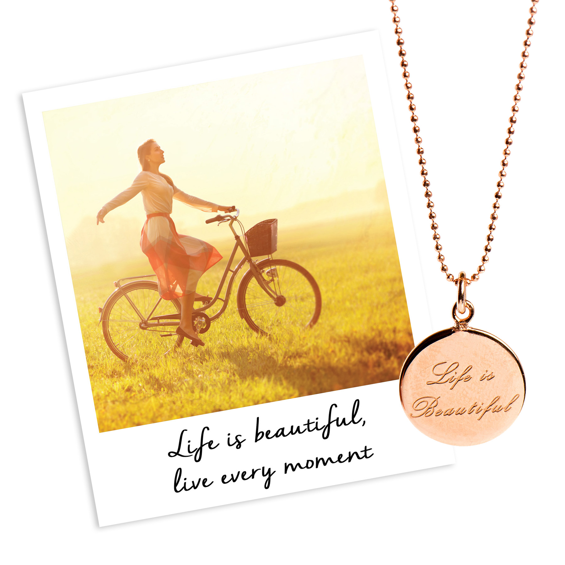 mantra life is beautiful necklace