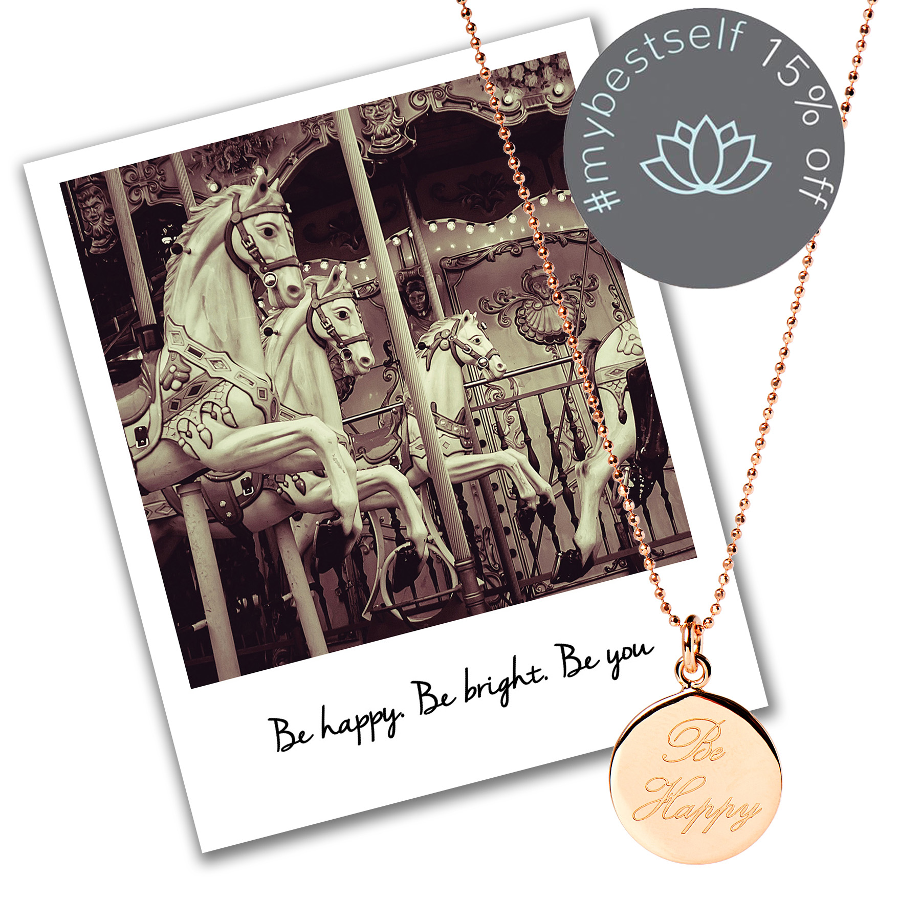 15% off Be Happy Necklace