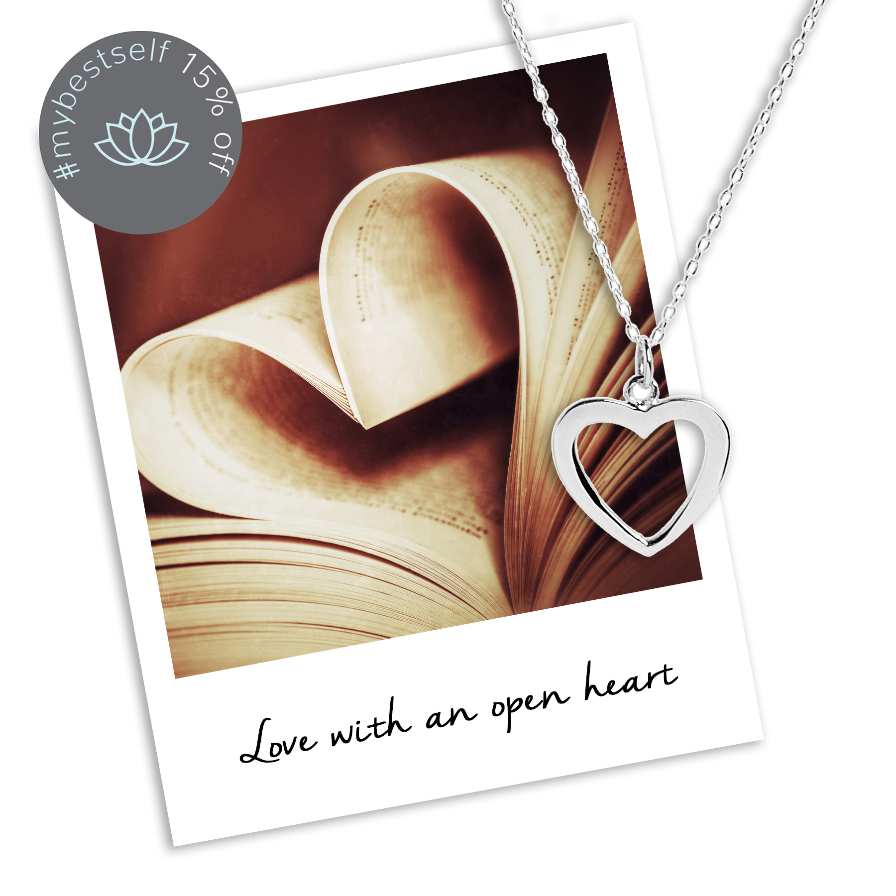 15% off Open Heart Necklace