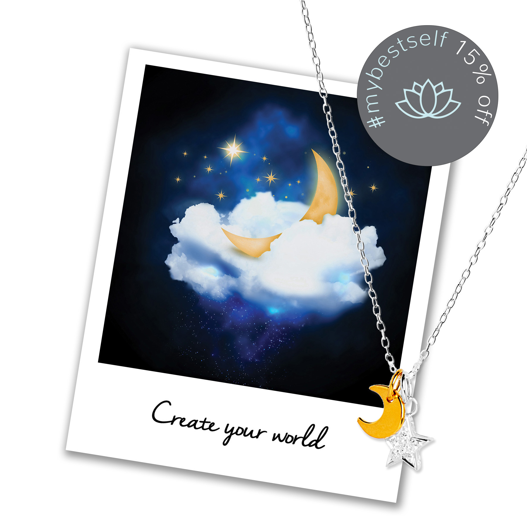 15% off Moon and Star Necklace