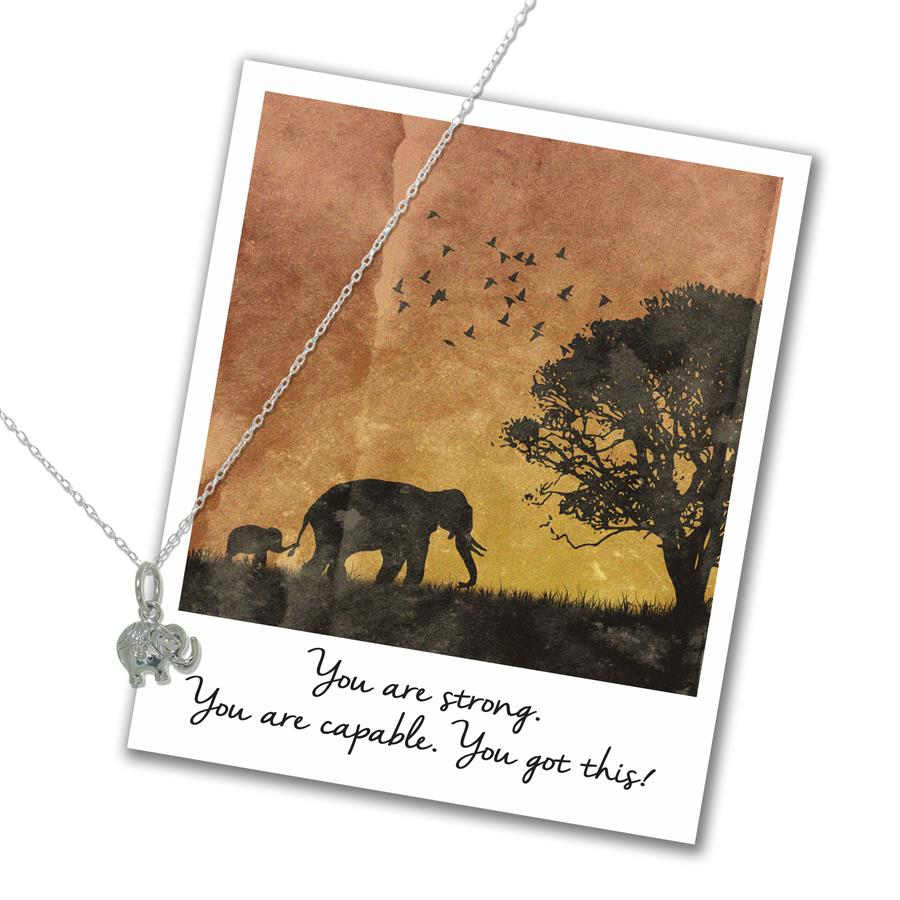 You are Strong - Elephant Necklace