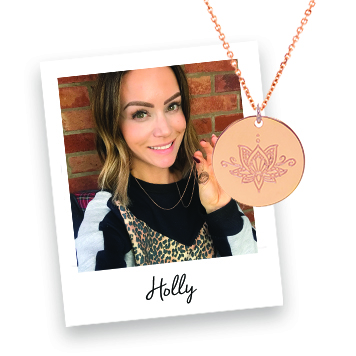 Holly Matthews wearing myMantra Personalised Necklace
