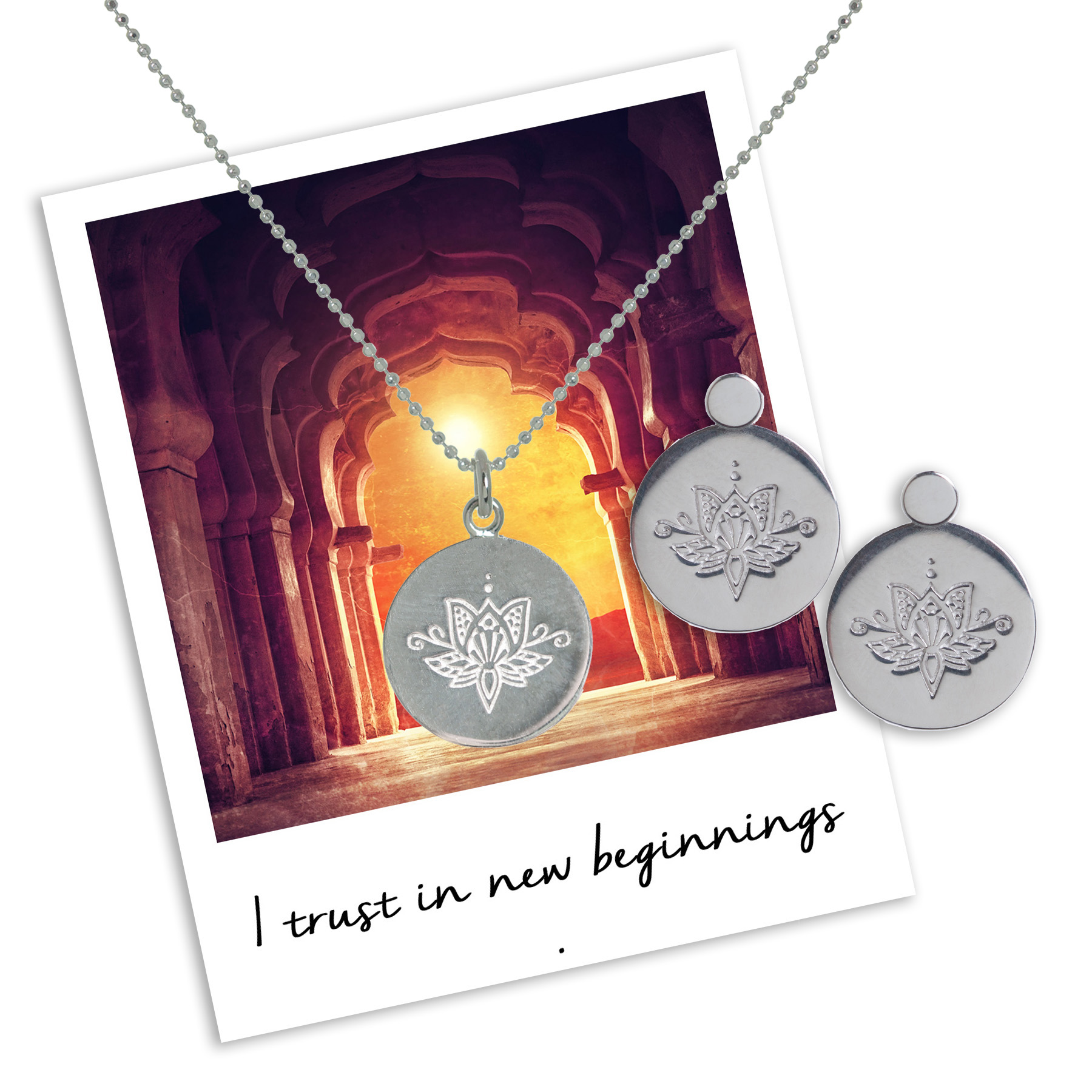 i trust in new beginnings - Lotus Necklace & Earrings