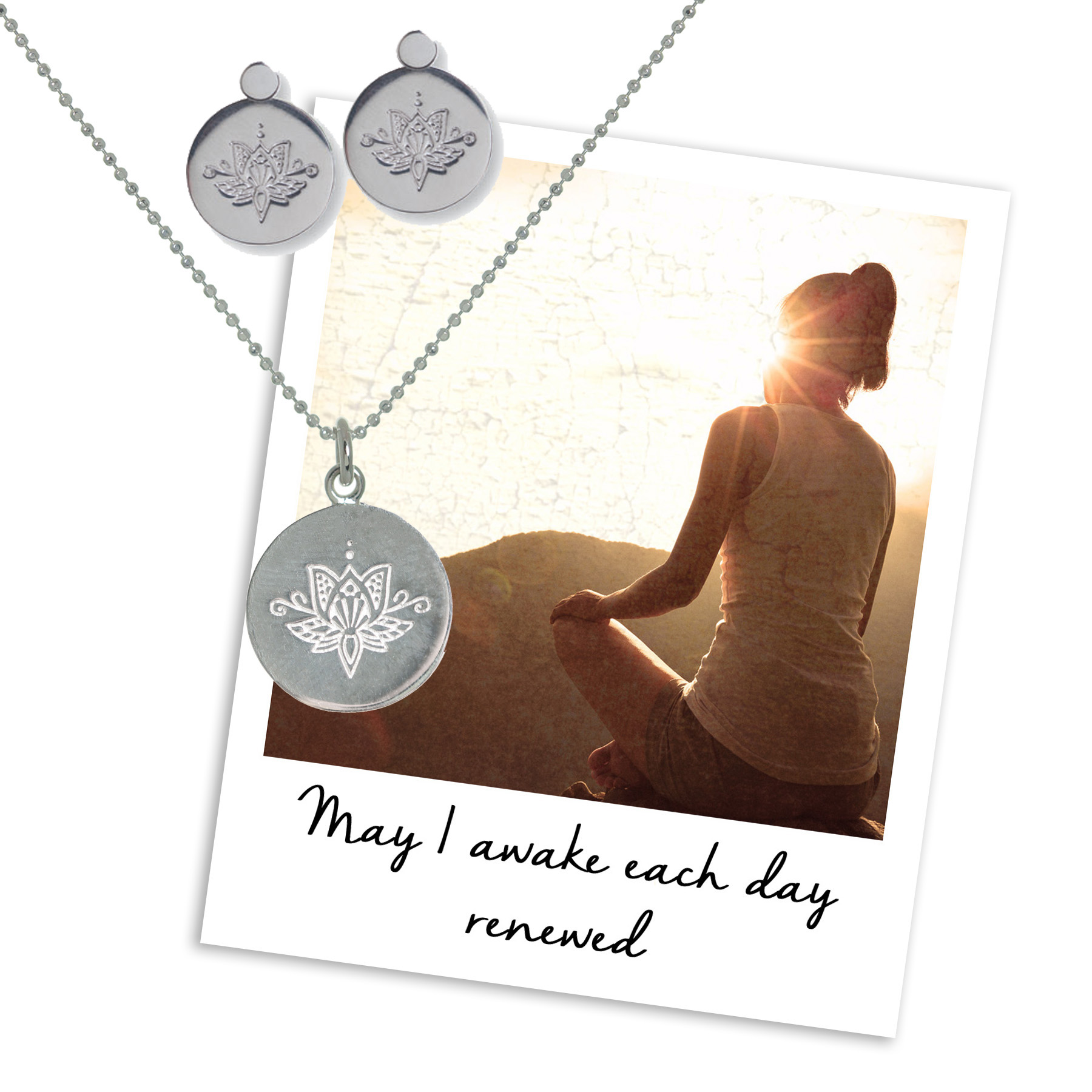 Lotus Necklace & Earrings - may i awake each day renewed