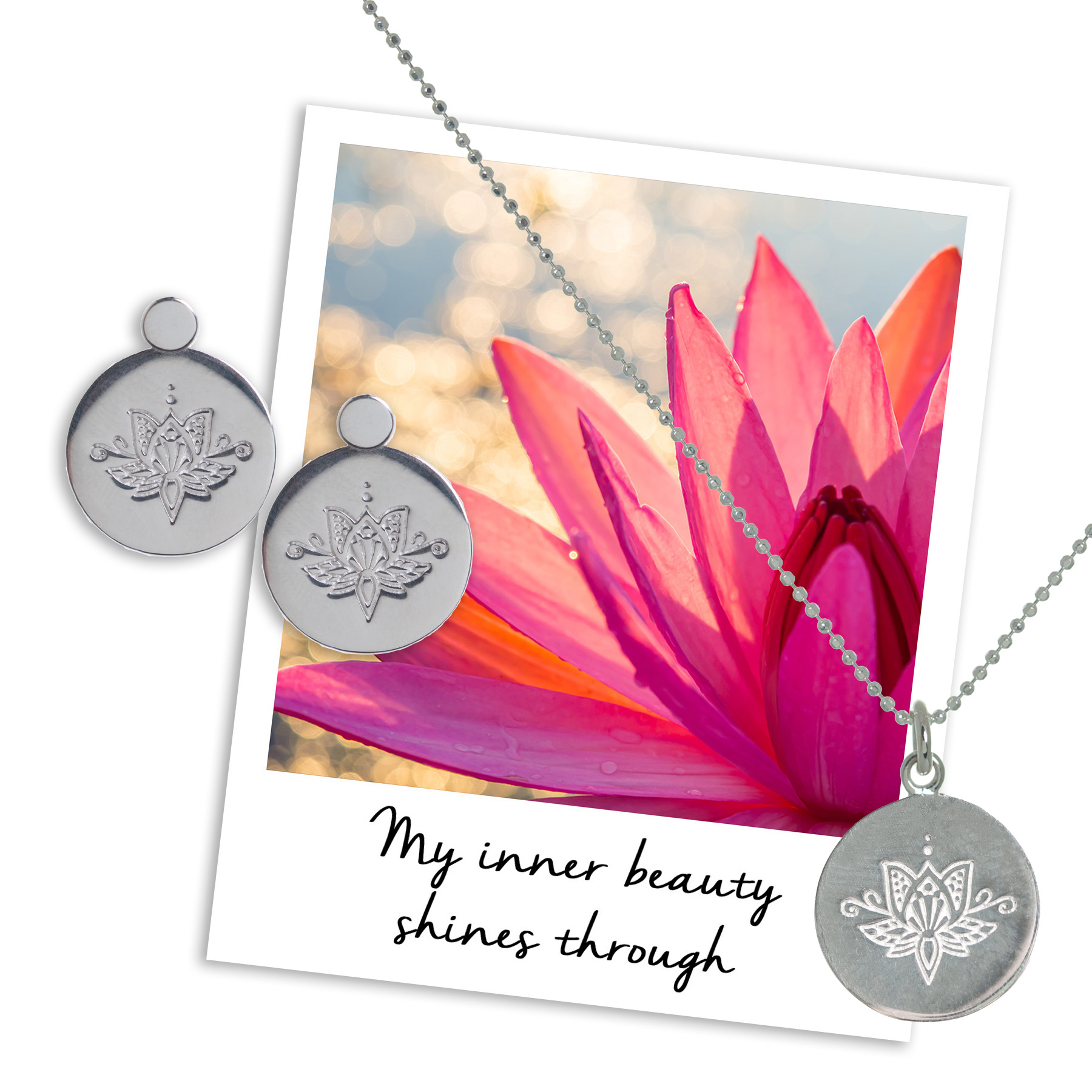 my inner beauty shines through - Lotus Earrings & Necklace