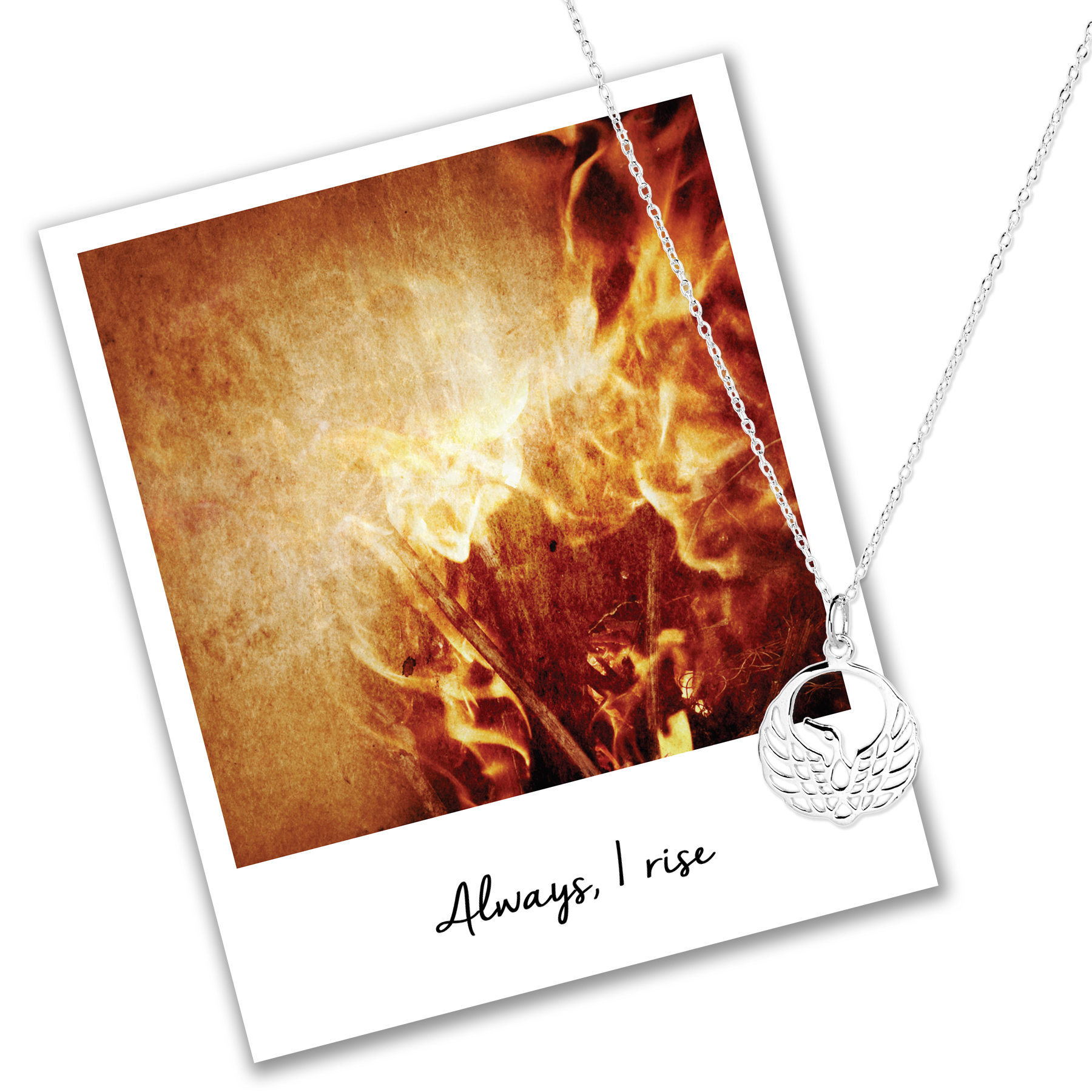 Always I rise mantra jewellery phoenix necklace