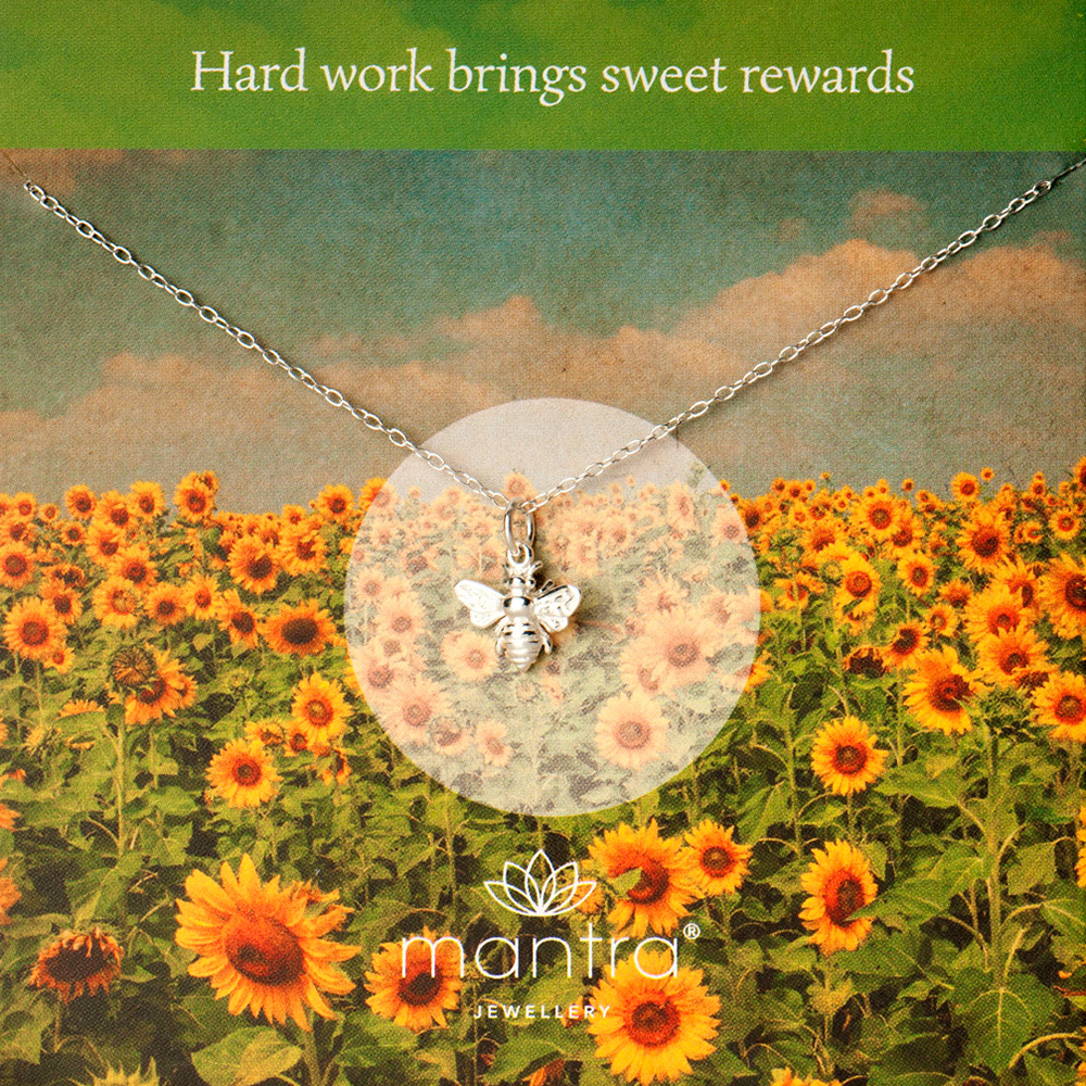 bee necklace, hard work mantra