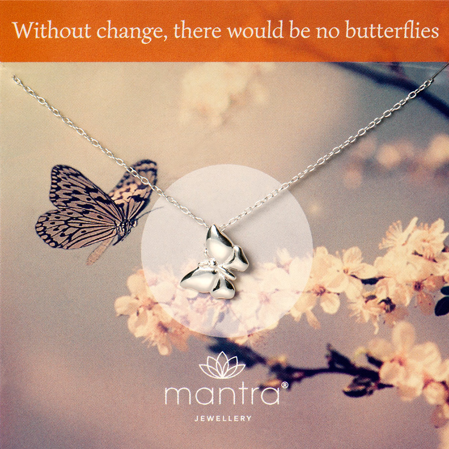 Butterfly mantra necklace