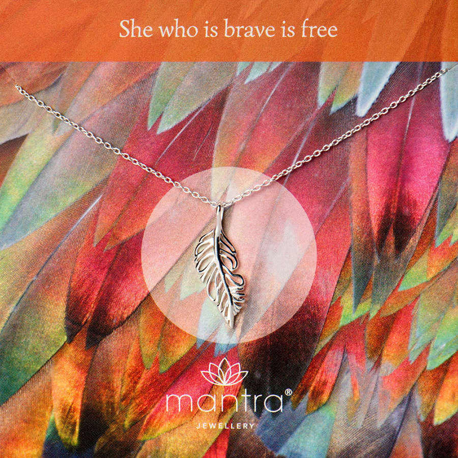 feather necklace bravery mantra