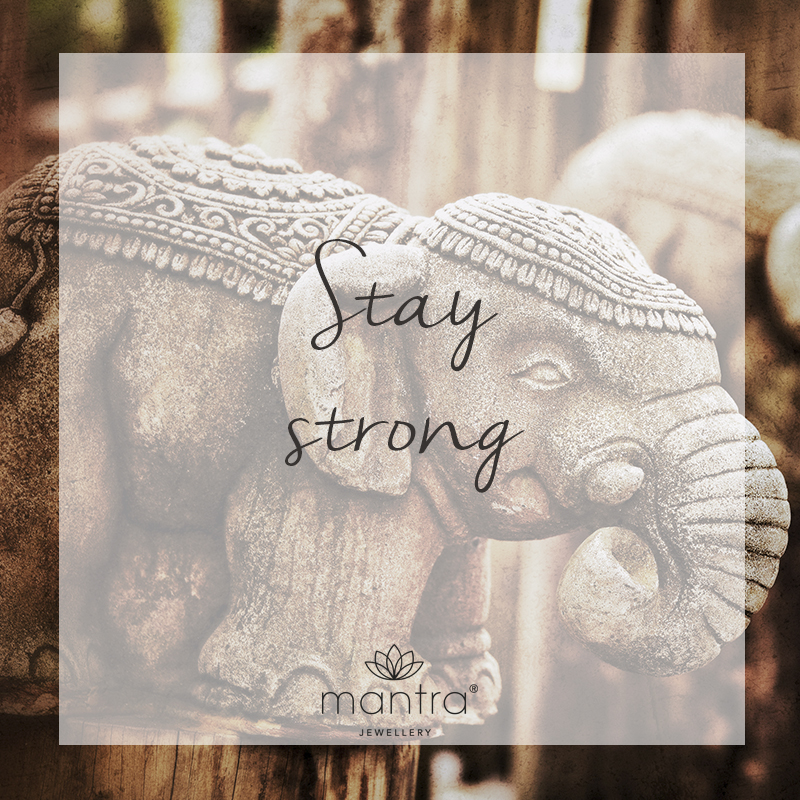 Stay strong, elephant mantra necklace