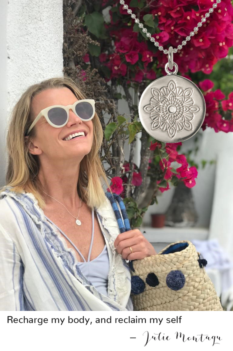 Julie Montagu with Recharge Necklace at Santaroni