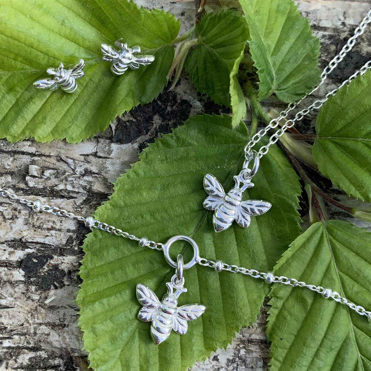 Sterling Silver Dainty Bee Necklace Bracelet Earrings Photoshoot
