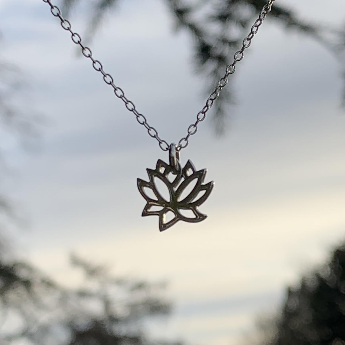 Sterling Silver Lotus Necklace Photography