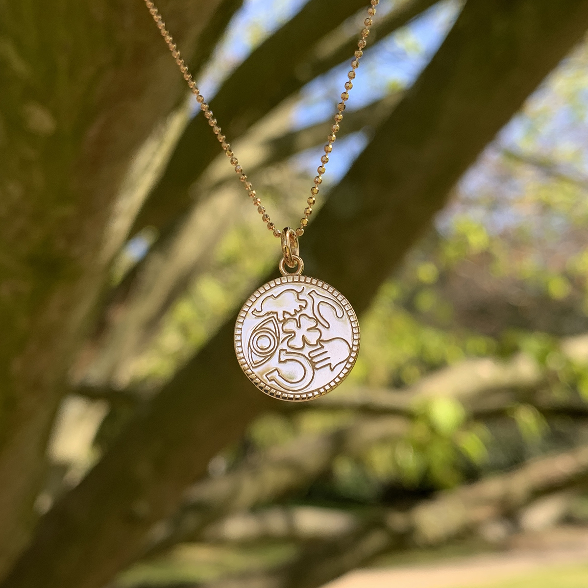 Lucky Rose Gold Charm Necklace Photoshoot