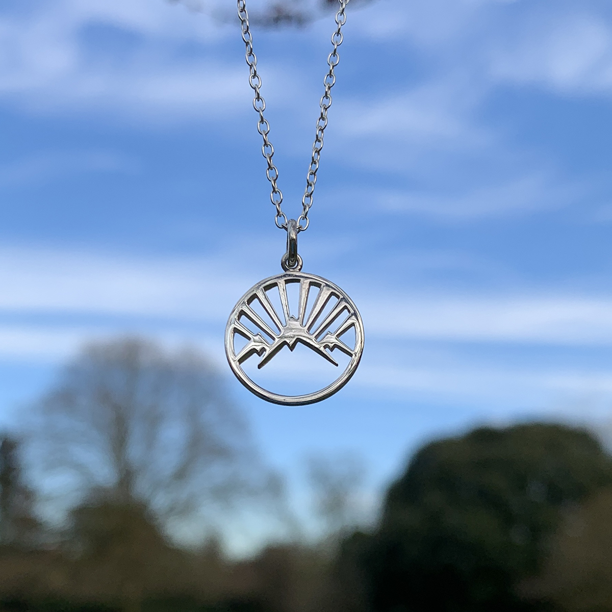 Sterling Silver Mountain Necklace Photography