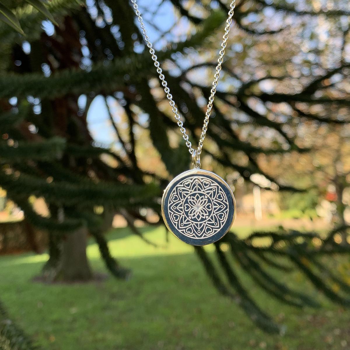 Engravable Love Mandala Necklace Photoshoot