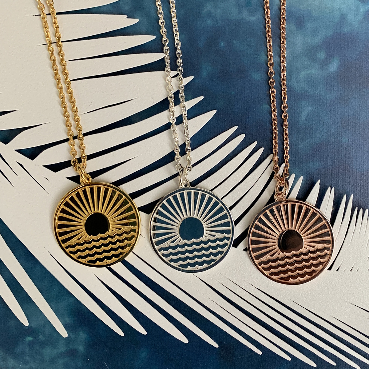 sun rising over the sea Necklace Photoshoot