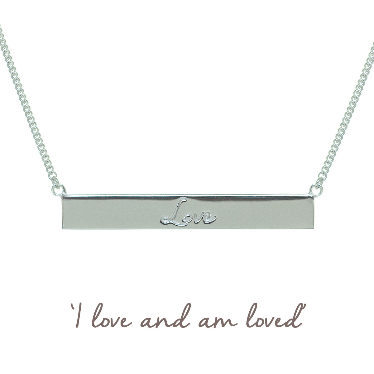 mantra love bar necklace