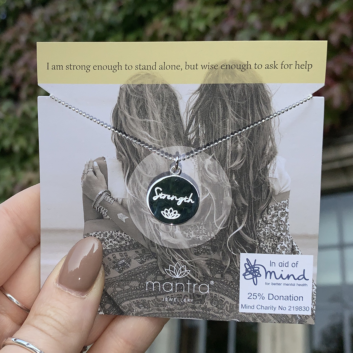 mantra mind charity necklace