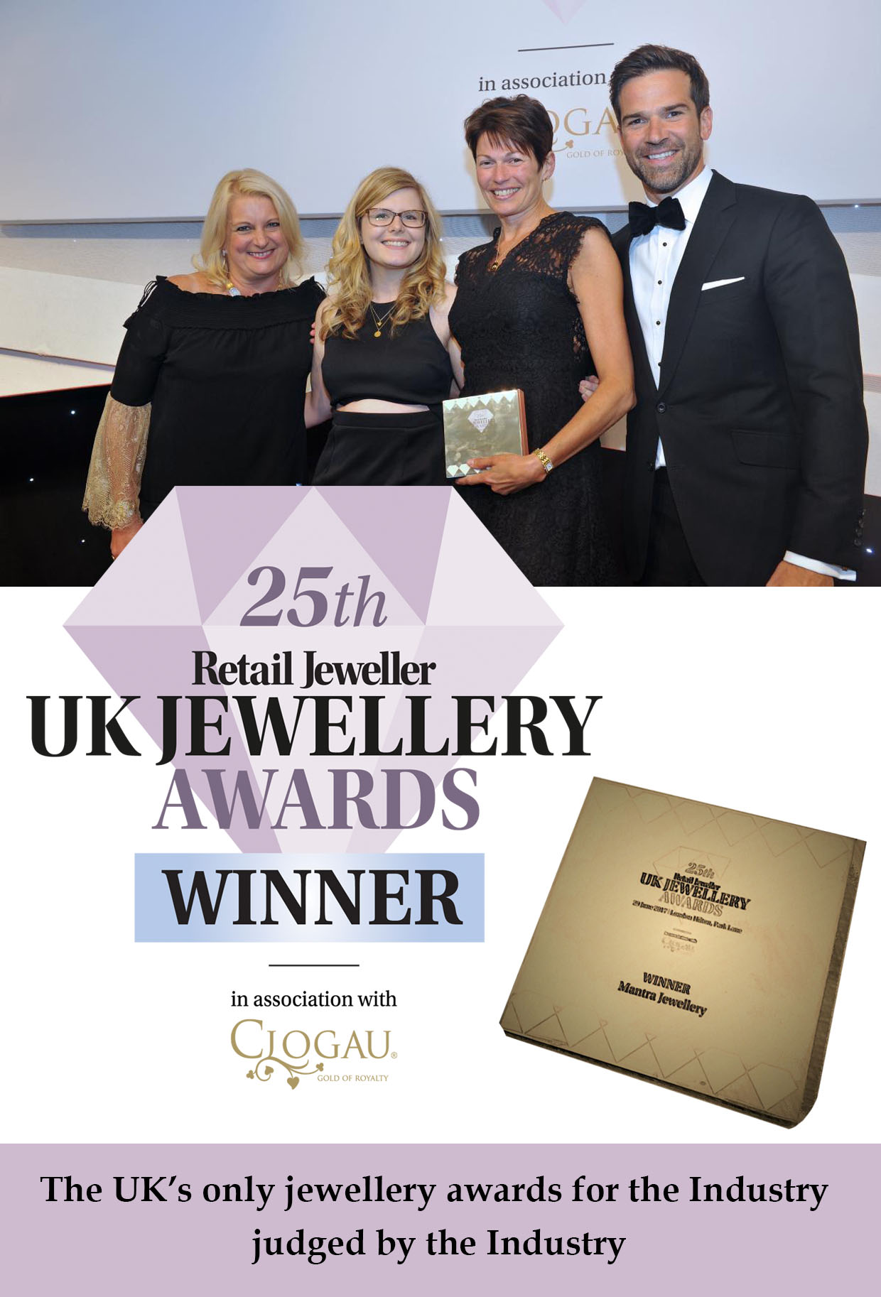 Mantra Jewellery won the 'Brands to Watch' award at the 25th Retail Jeweller UK Jewellery Awards 2017