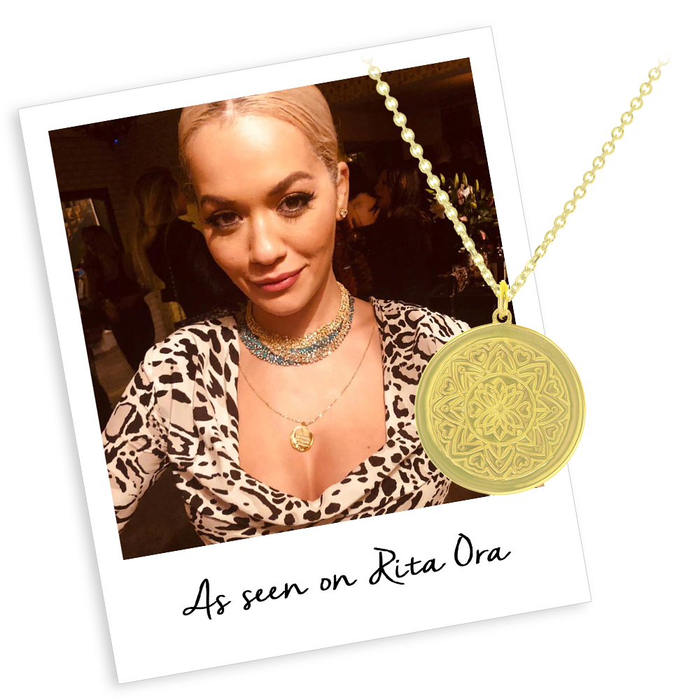 Rita Ora wears myMantra Necklace