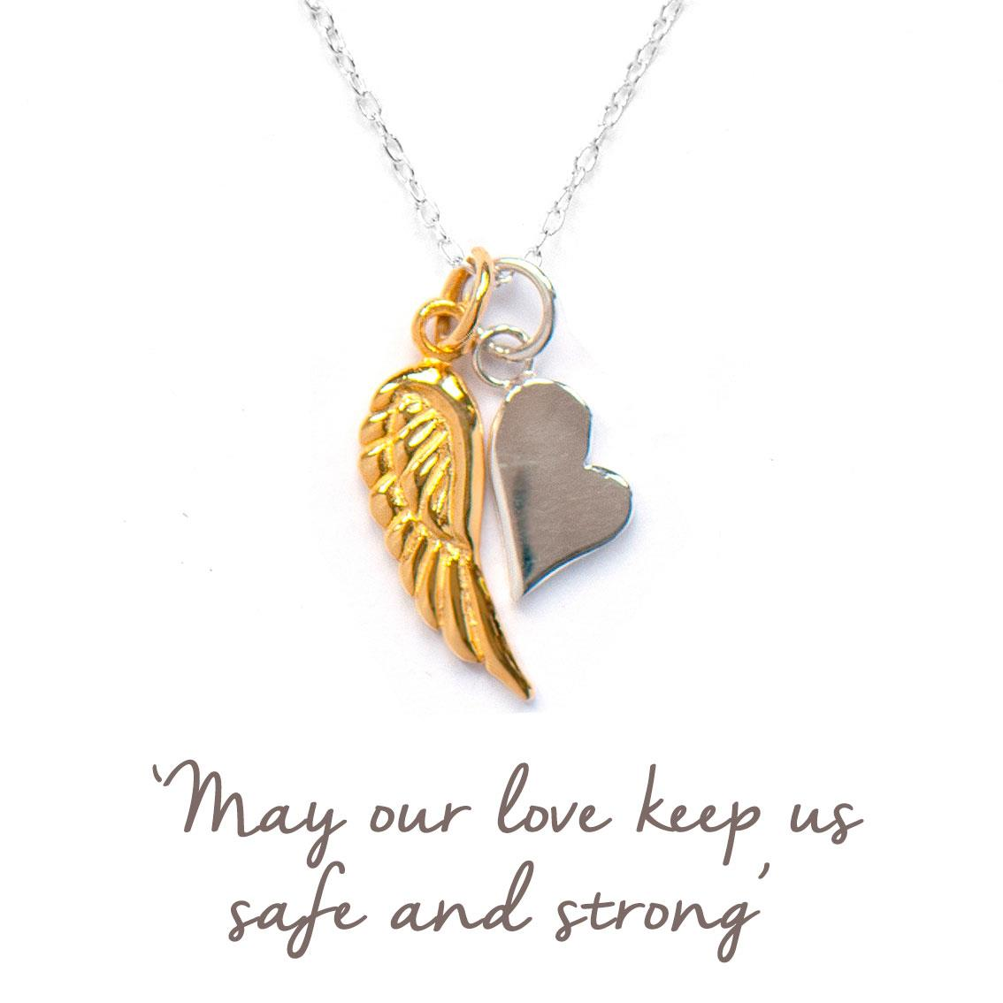 valentines angel wing and heart necklace