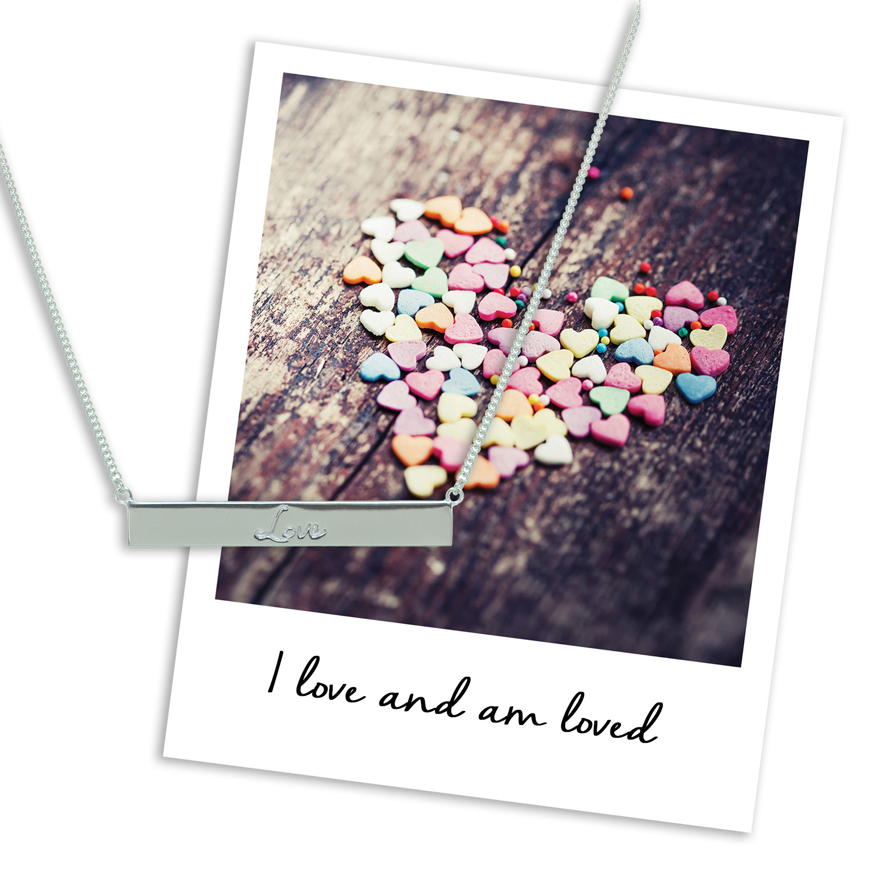valentines love bar necklace