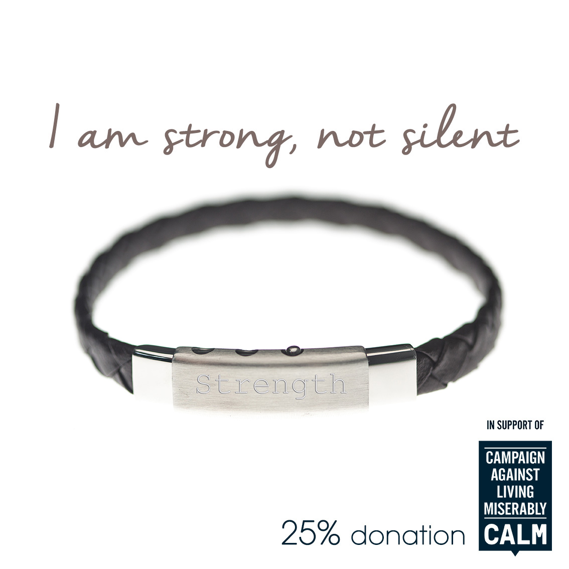 Strength mens charity bracelet