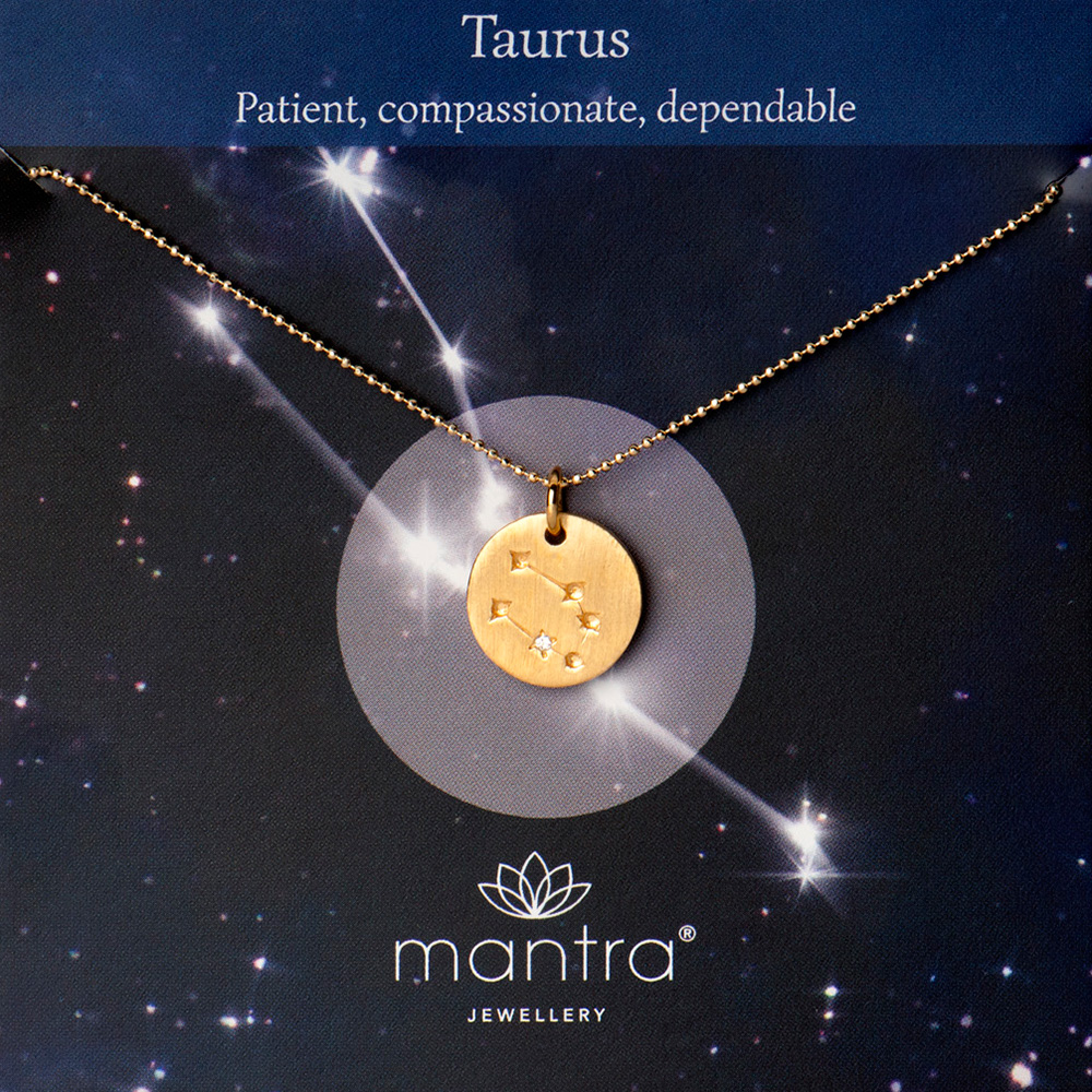 Taurus star map necklace, gold