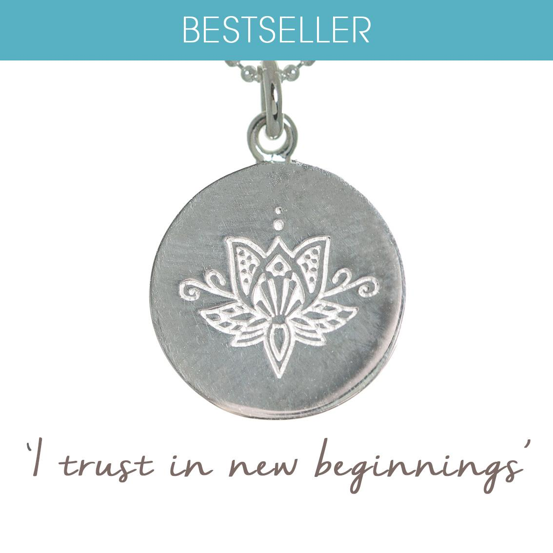 Lotus Flower Necklace New Beginnings Mantra Jewellery
