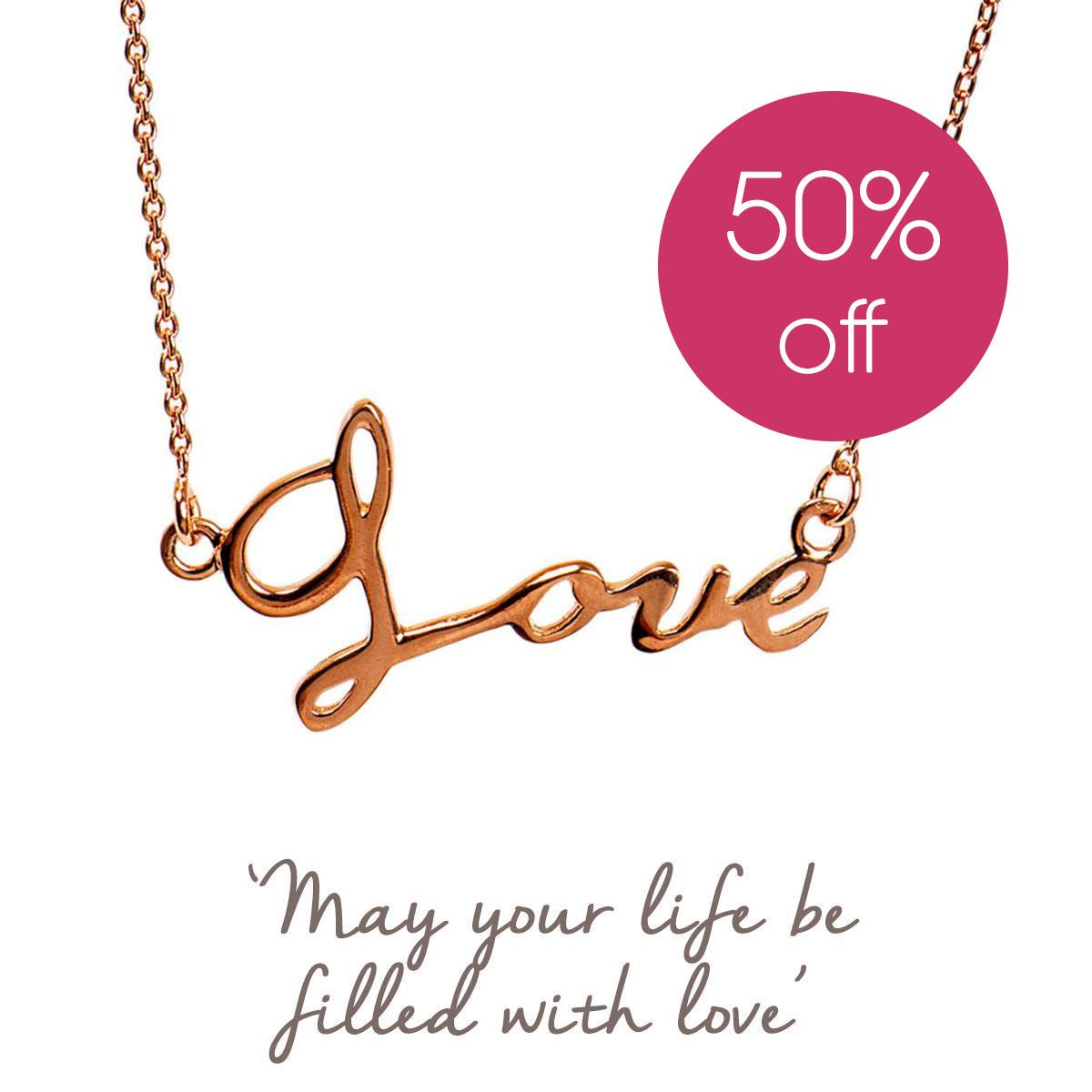 Love Script Necklace | Romantic Gifts for Her | Mantra Jewellery
