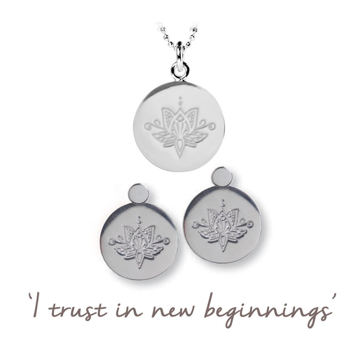 Lotus Flower Necklace And Earring Set New Beginnings
