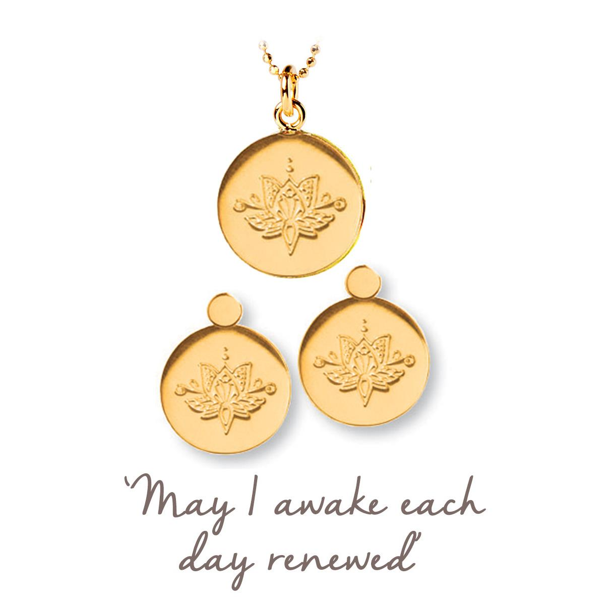 Lotus Flower Necklace And Earring Set Renew