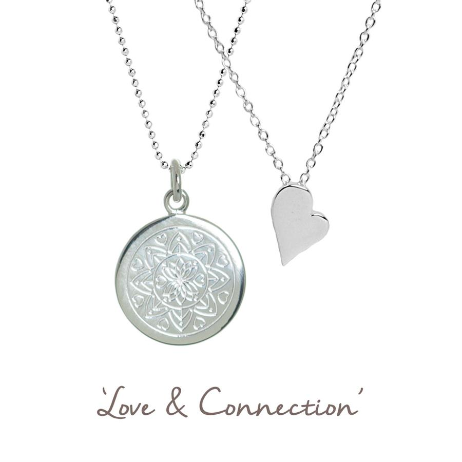 Buy Love & Connection Mandala and Heart Necklace Set | Sterling Silver, Gold & Rose Gold