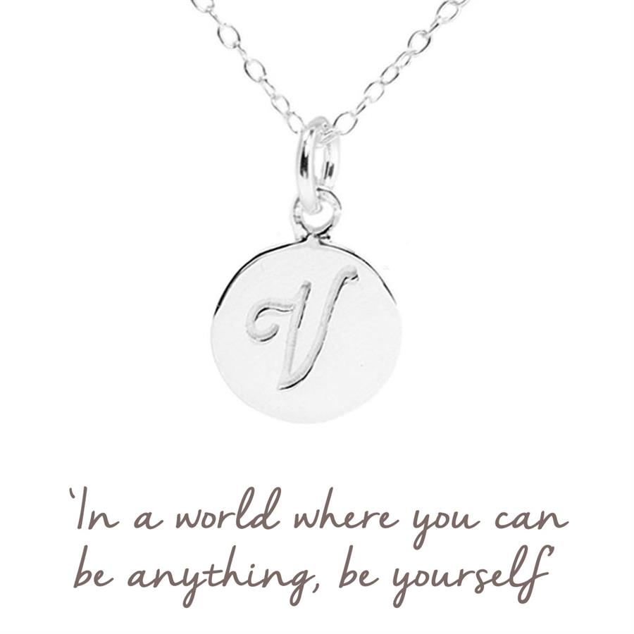 Sterling Silver V Initial Necklace