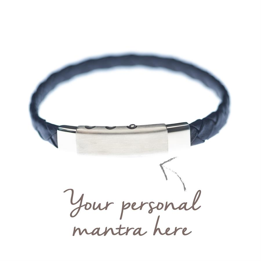 mens personalised blue leather bracelet