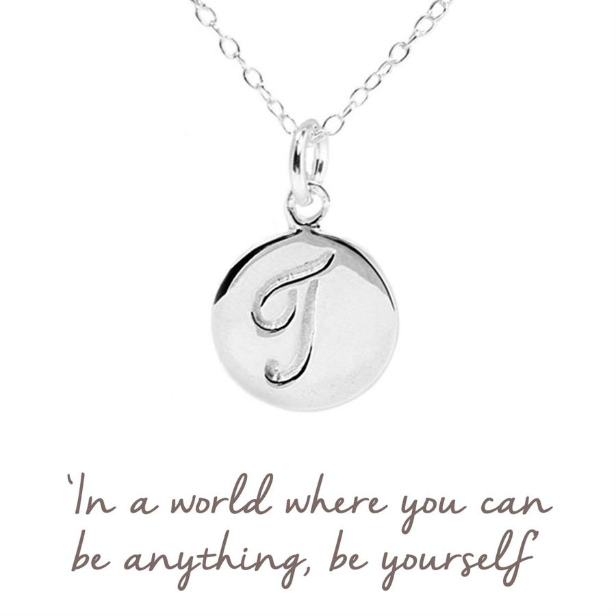 Sterling Silver T Initial Necklace