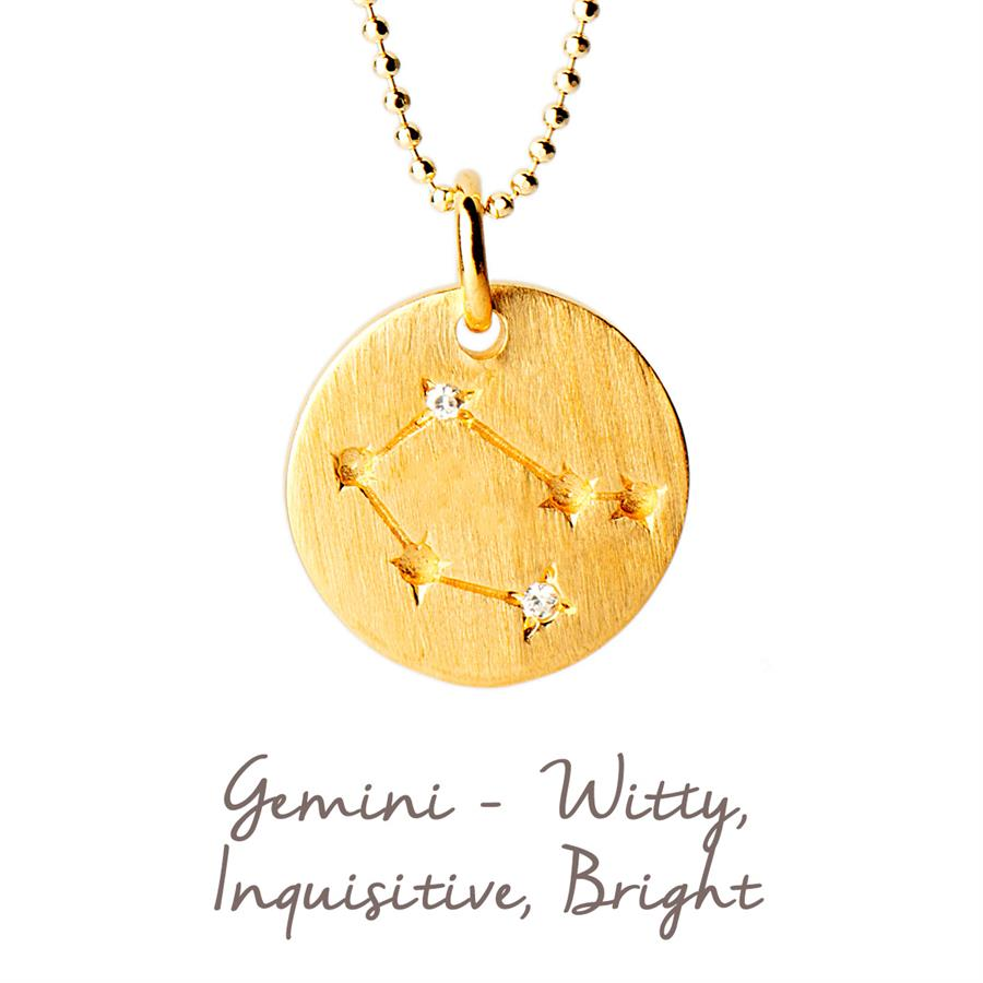 Sterling Silver Gemini Star Map Necklace