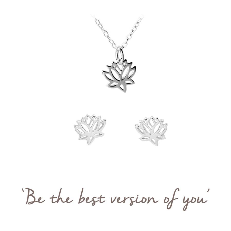 Lotus Gift Set - Lotus Necklace & Earrings