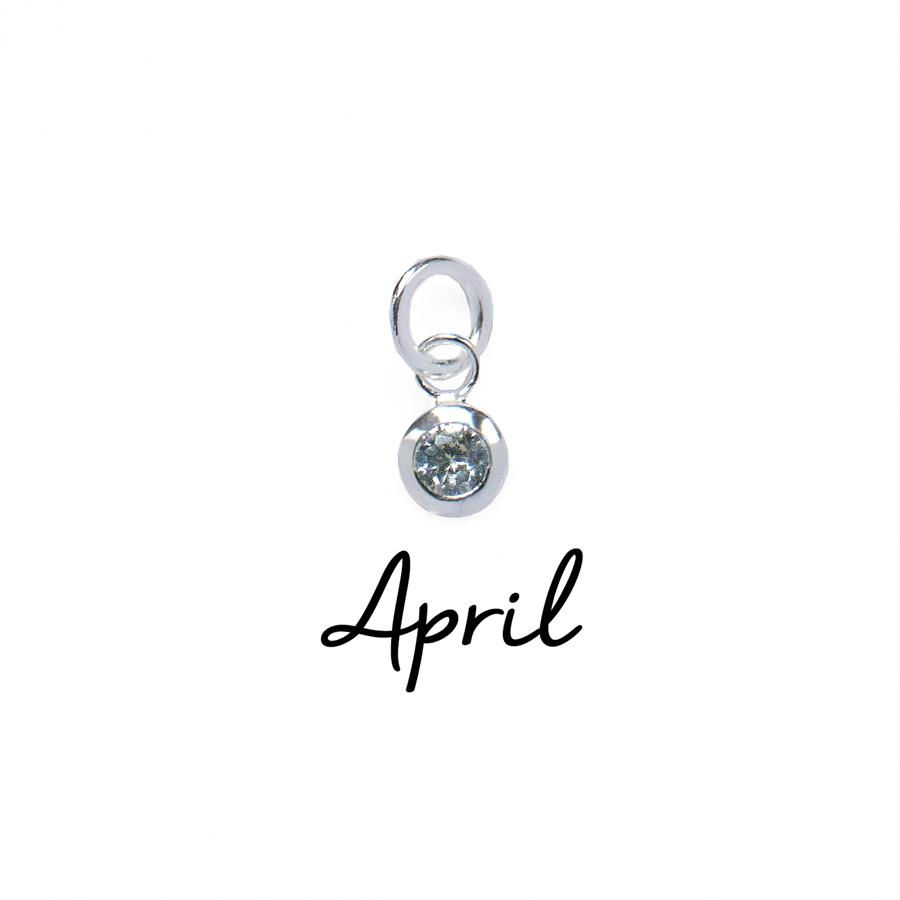 Sterling Silver April CZ Birthstone Pendant