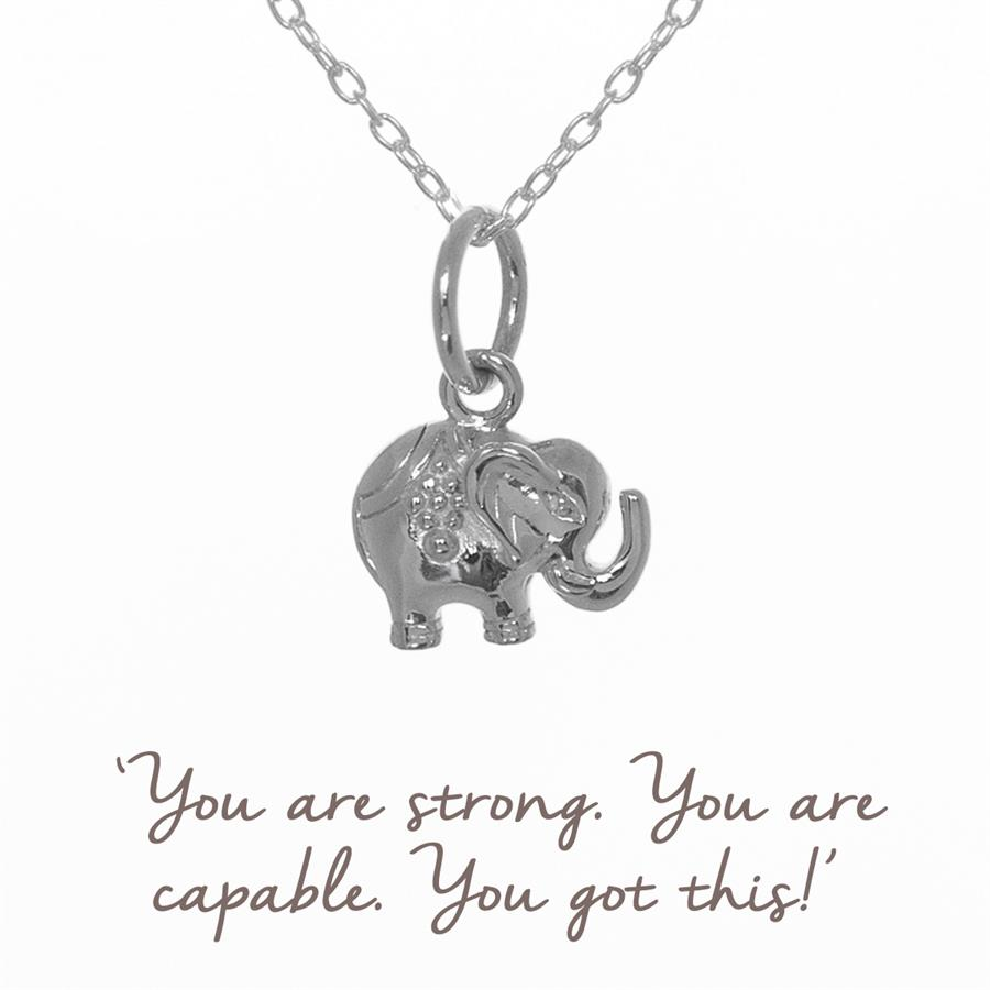Sterling Silver Decorated Elephant Necklace