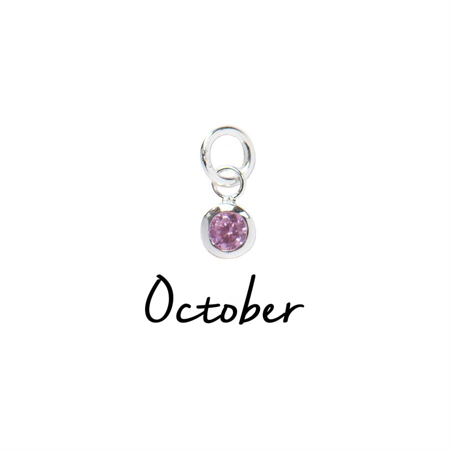 Sterling Silver October CZ Birthstone Pendant