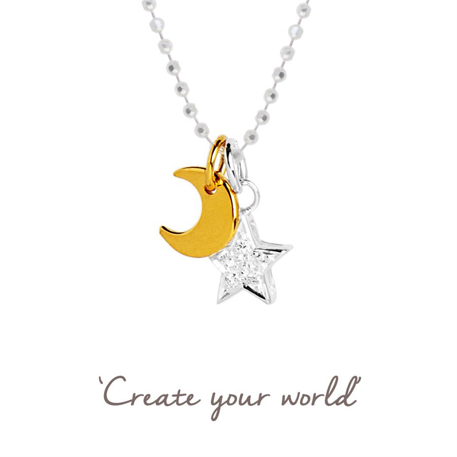 Sparkly Moon & Star Necklace