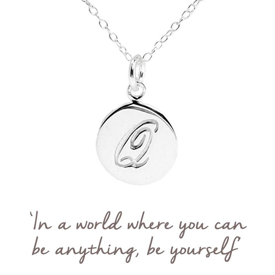 Sterling Silver Q Initial Necklace