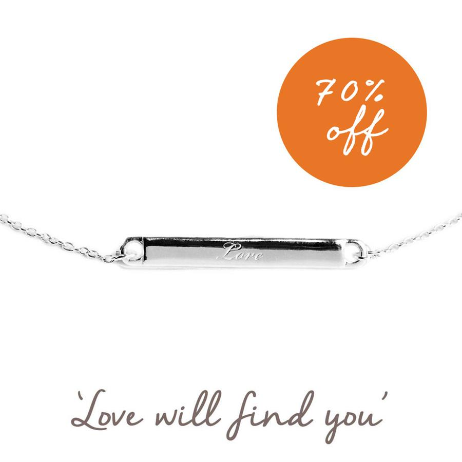 Sterling Silver Love Bar Bracelet