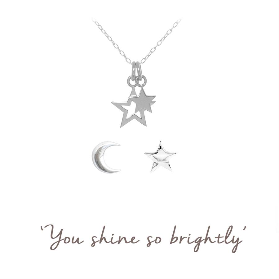 Sterling Silver Star Gift Set - Necklace and Earrings