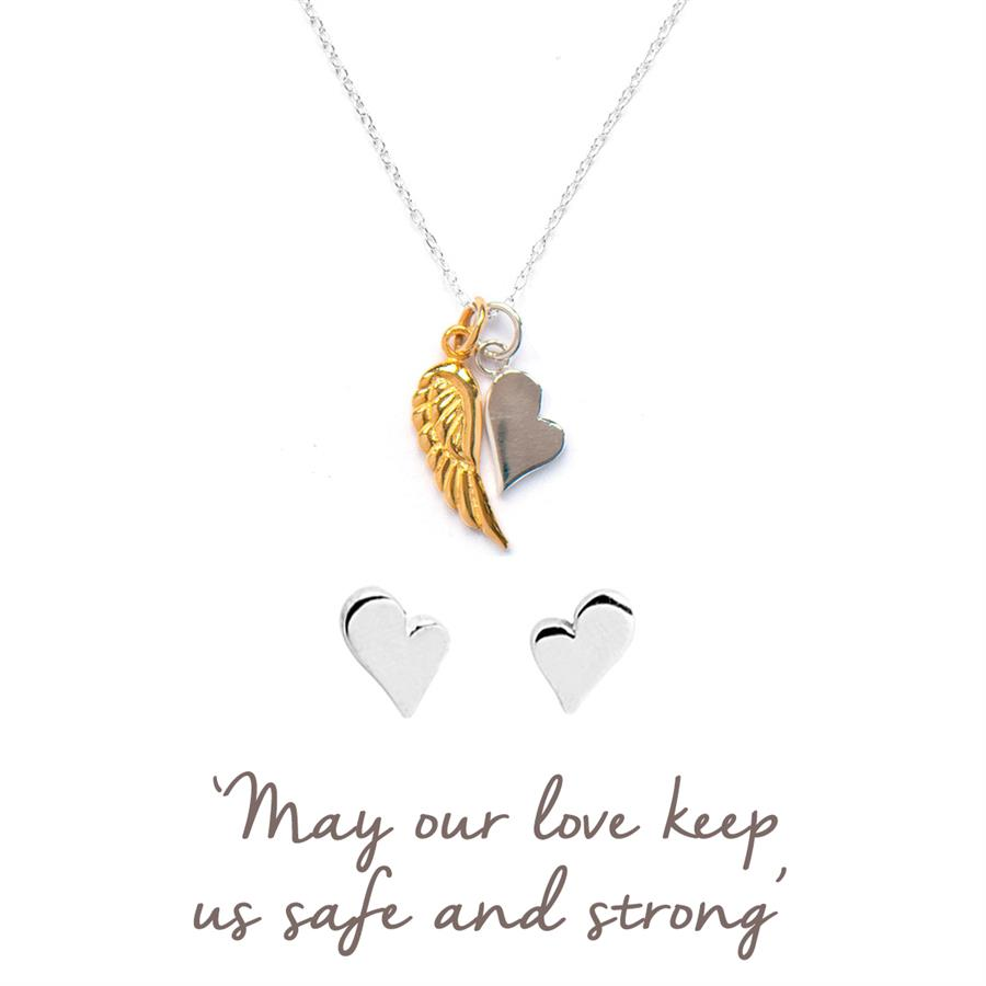 Buy Angel Wing with Heart Necklace and Earring Set | Sterling Silver and Gold