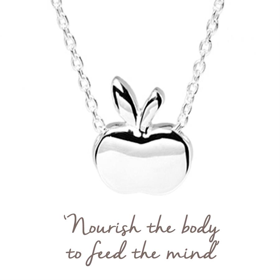 Sterling Silver Apple Necklace for foodie